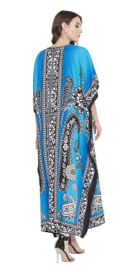 Sky Blue Polyester Maxi Kaftan Dress - Plus - Back