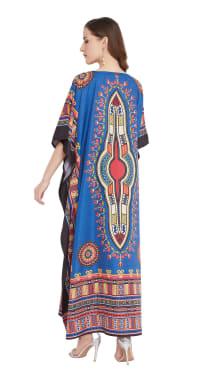 Blue V-Neck Maxi Kaftan Dress - Plus - Back
