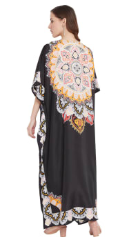Black Wide Sleeve Maxi Kaftan Dress - Plus - Back