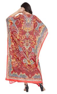 Red Wide Sleeve Maxi Kaftan Dress - Plus - Back