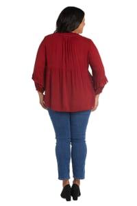 Westport V Neck Rayon Crinkle Blouse - Plus - Back