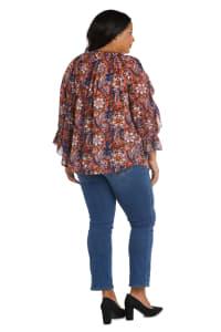 Westport Floral Ruffle Sleeve Blouse - Plus - Back
