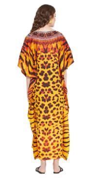 Yellow Maxi Kaftan Dress - Plus - Back