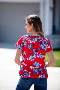 Floral Flutter Sleeve Bubble Hem Blouse - Back