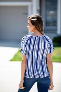 Denim Friendly Stripe Bubble Hem Blouse - Misses - Back