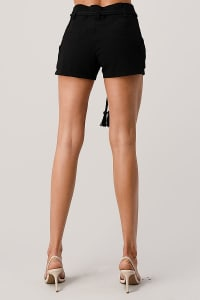 Kaii Paper Bag Waist With Rope Belted Shorts - Back