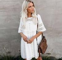 White Crochet Detail Cover-up - Back