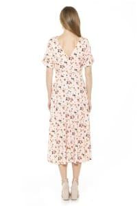 Lana Draped Bodice Midi Dress With Slit - Back