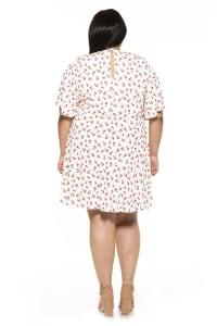 Oak less Flutter Sleeve Fit And Flare Dress- Plus - Back