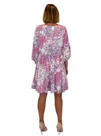 Allover Floral Babydoll Dress - Back