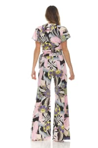 Floral Print Tie Front Blouse With Wide Leg Pant - Back