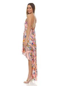Scarf Print Hi-low Maxi Dress - Back