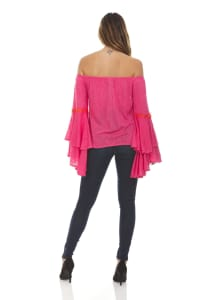 Solid Off The Shoulder Top With Lace Trim - Back
