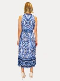 Taylor Sleeveless V-Neck Medallion Print Voile Midi Dress - Back