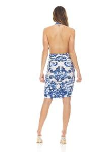 Blue Ivory Printed Halter Dress - Back