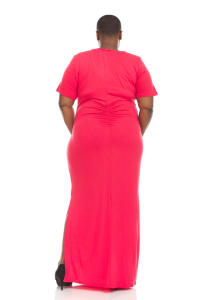 Criss Cross Neck Solid Maxi Dress Ruched Side - Plus - Back