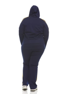 Hoodie Jog Set With Trim On Top And Pant - Plus - Back