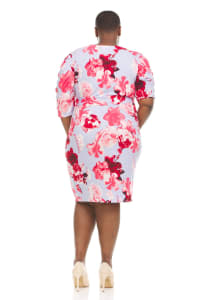 Floral Print Faux Wrap Dress - Plus - Back