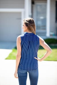 Tie Front Stripe Lined Blouse - Back
