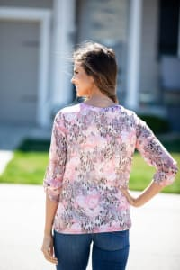Floral Henley Bubble Hem Blouse - Misses - Back