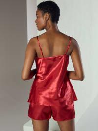 Satin Cami Top And Shorts Pajama Set - Back