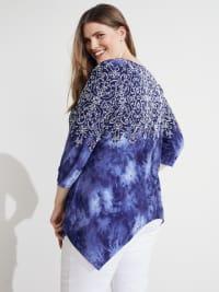 Westport Tie Dye Mix Media Print Top - Plus - Blue - Back