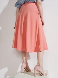Tasmin Flare Floral Midi Skirts - Plus - Coral - Back