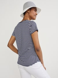 Westport Screen Print Stripe Rib Tee - Navy - Back