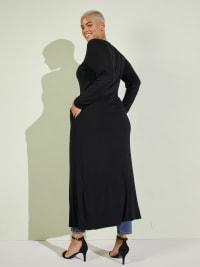 Front Slit Long Sleeve Shirt With Pockets - Plus - Black - Back