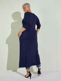 Front Slit Long Sleeve Shirt With Pockets - Plus - Navy - Back