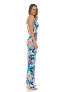 Printed Halter Maxi Dress - Back