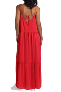 Gigi Parker Tiered Maxi Polyester Dress - Back