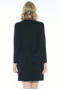 Aurora Long Sleeve Round Neck Dress - Black - Back