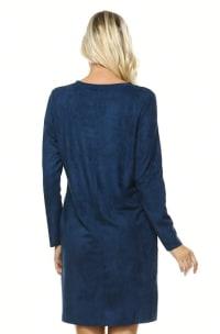 Aurora Long Sleeve Round Neck Dress - Ultramarine - Back