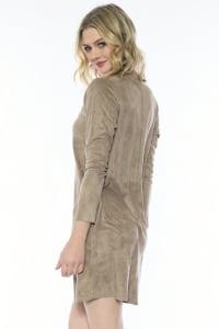 Aurora Long Sleeve Round Neck Dress - Khaki - Back