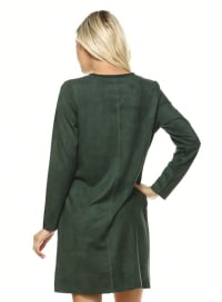 Aurora Long Sleeve Round Neck Dress - Hunter green - Back