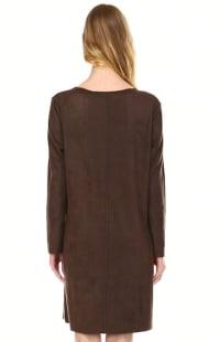 Aurora Long Sleeve Round Neck Dress - Umber - Back