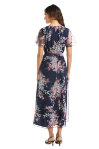 Floral Navy/Coral Mesh  High-Low Wrap Dress - Back
