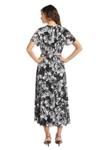 High Low Black/Taupe Floral Mesh Wrap Dress - Back
