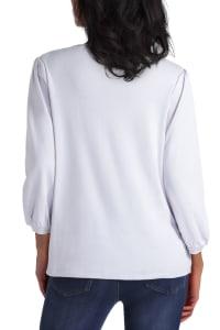 Isaac Mizrahi Puff Sleeve Cotton Pullover Top - Back
