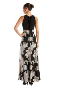 Floral Print Sleeveless Maxi Dress - Back