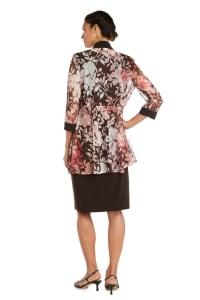 Puff Floral Brown/Peach Print Jacket Dress - Back