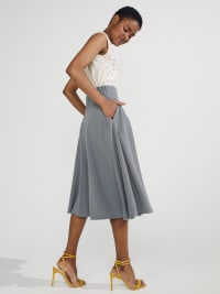 Tasmin Flare Floral Midi Skirts - Plus - Grey - Back