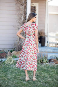 Vienna Poppy Maxi Peasant Dress - Misses - Ivory/Red - Back