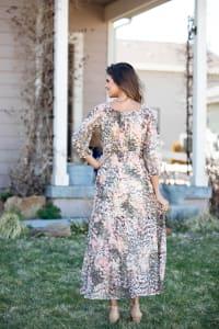 Sydney Neutral Lace Floral Maxi Peasant Dress - Back