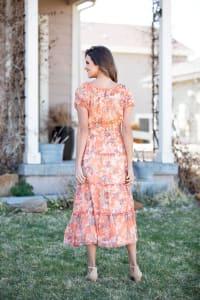 Vienna Coral Floral Maxi Peasant Dress - Back