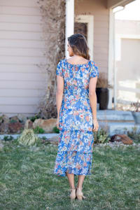 Vienna Blue Floral Maxi Peasant Dress - Back