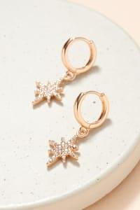 Northern Star Shape Charm Hoop Earrings - Back