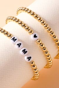 Mama Inspirational Metal Beaded Bracelet Set - Back