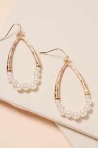 Pearls Tear Drop Dangling Earrings - Back